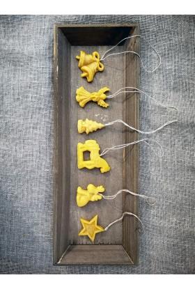 Vaško žaisliukai eglutei (100 proc. natūralus vaškas)