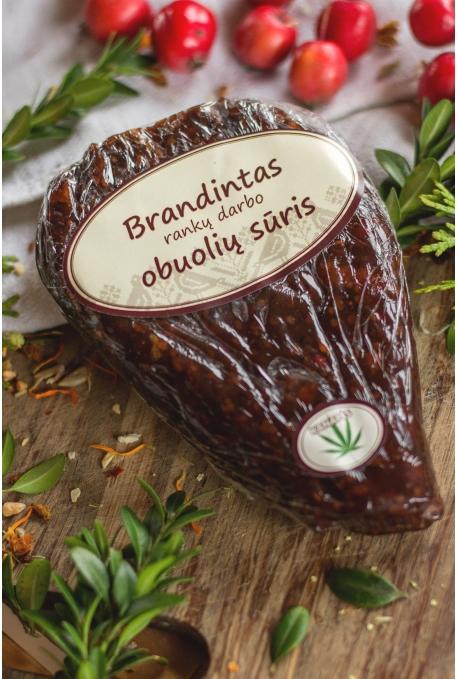 Brandintas naminis, rankų darbo obuolių sūris (su kanapėmis). 180-250 g.
